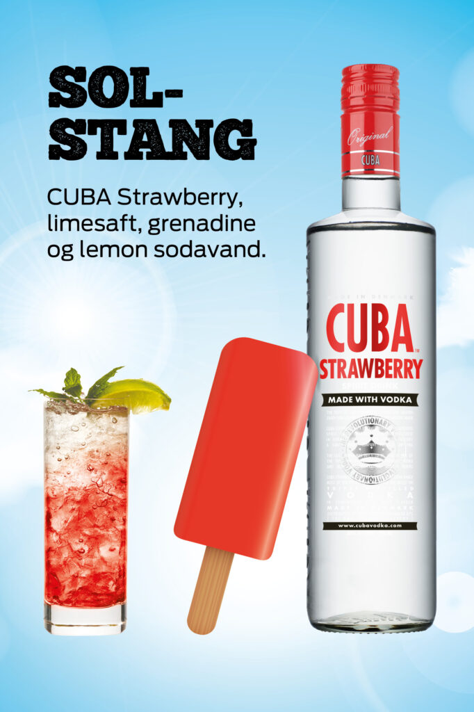 Solstang drink med CUBA Strawberry - CUBA Iskort